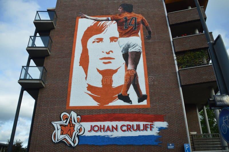 Väggmålning Johan Cruijff royaltyfria foton