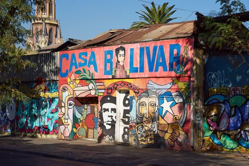 Väggmålningar av Santiago royaltyfri foto