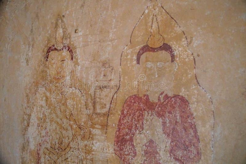 Väggmålningar inom buddistiska tempel i den Myanmar Burman fotografering för bildbyråer
