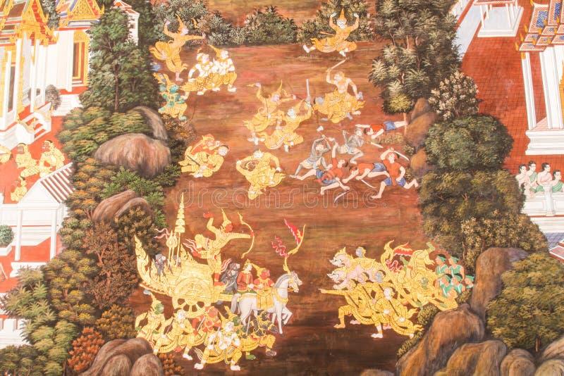 Väggmålningar på Wat Phra Kaew royaltyfri fotografi