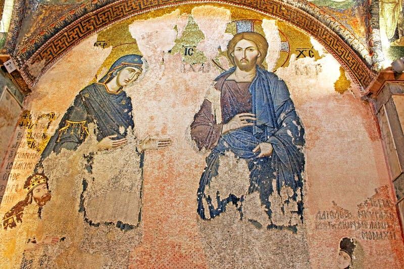 Väggmålningar under kupolen i kyrkan av den heliga frälsaren utanför väggarna royaltyfri foto