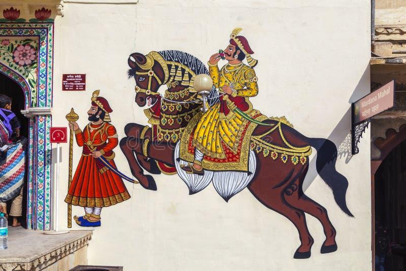 Väggmålningar visar krigare i forntida tider med hästar royaltyfria bilder