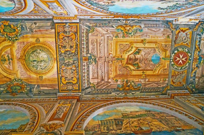 Väggmålningarna i slotten för Grandmastr ` s, Valletta, Malta fotografering för bildbyråer