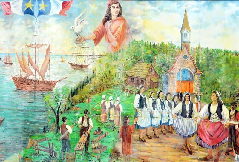 Väggmålningen berättar berättelse av acadiansfolk arkivbilder