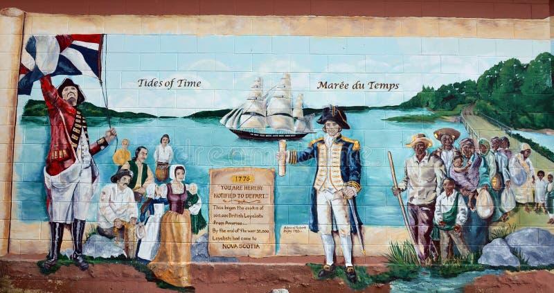 Väggmålningen berättar berättelse av acadiansfolk arkivfoton