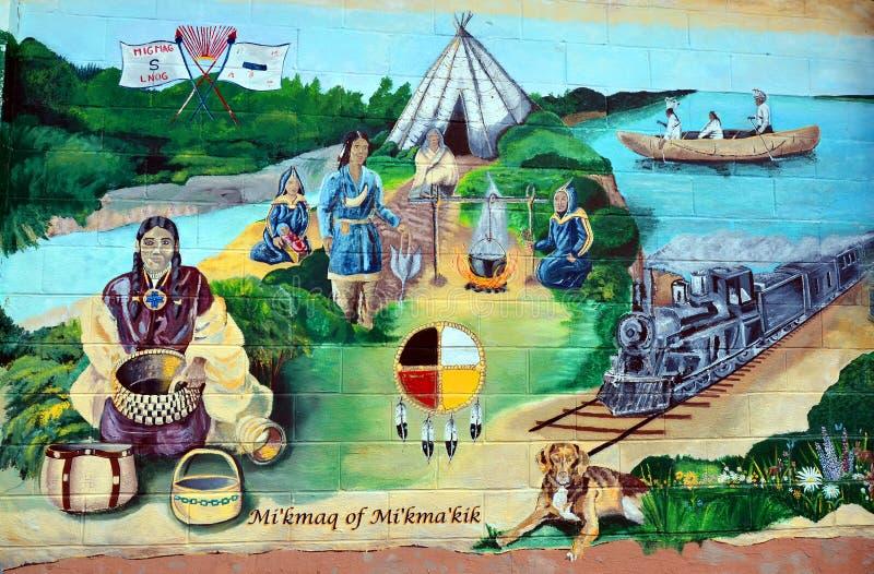Väggmålningen berättar berättelse av acadiansfolk arkivbild