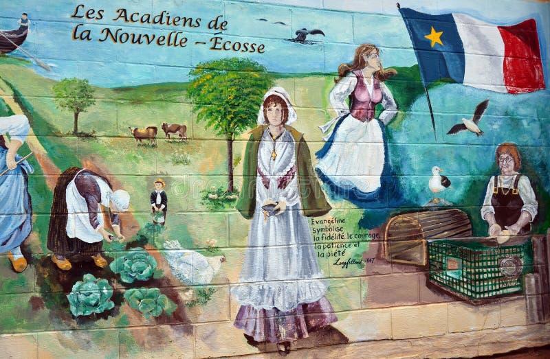 Väggmålningen berättar berättelse av acadiansfolk royaltyfri fotografi