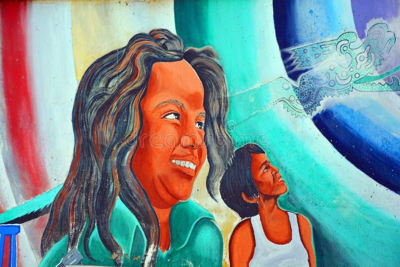 Väggmålningen berättar berättelsen av mexikanamerikanfolk stock illustrationer