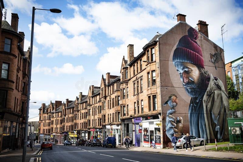 Väggmålningen för gatan för Glasgow stadskonst går royaltyfri bild