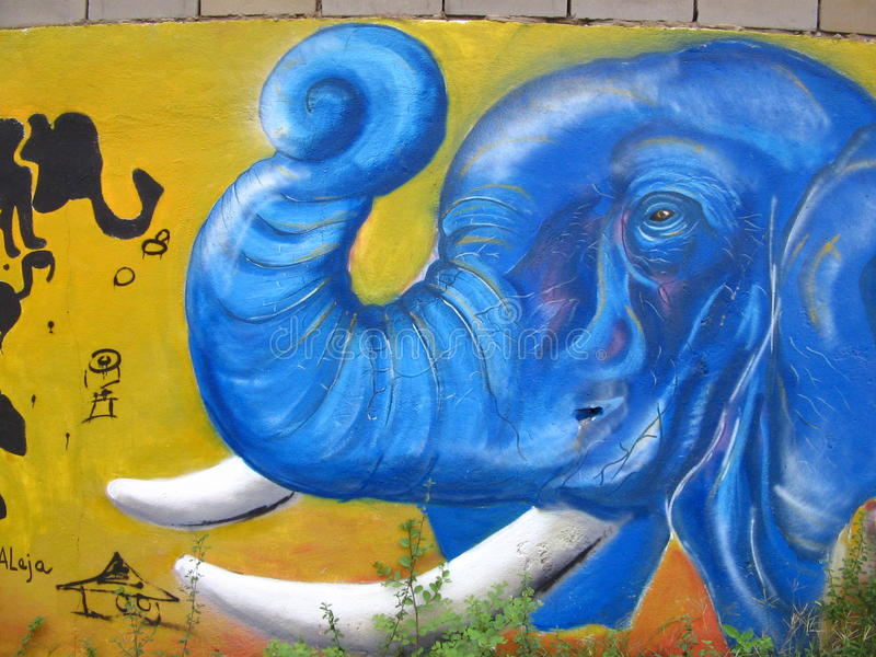 Väggmålningen målade på en gatavägg i den Puerto Ordaz staden, Venezuela fotografering för bildbyråer