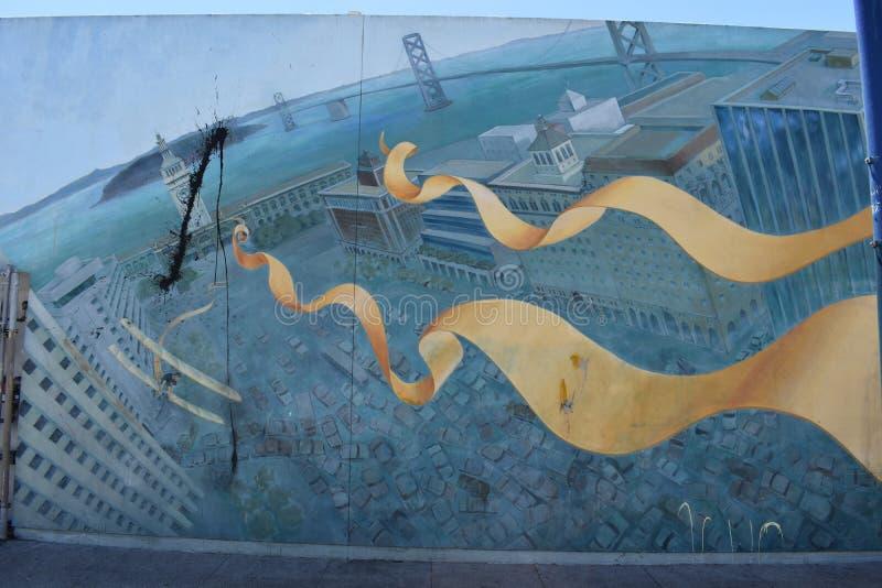 Väggmålningspårhistoria ursprungligen av en liten vik till den original- cykeln och den fot- banan, 6 arkivfoto
