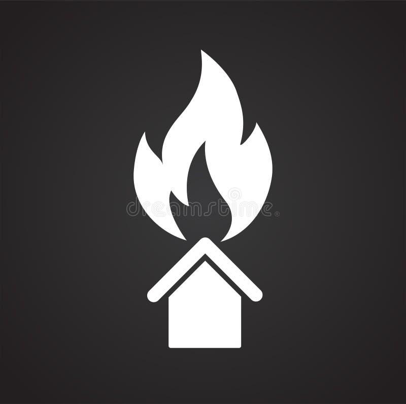 Väggskydd för hem- brand på svart bakgrund för diagrammet och rengöringsdukdesignen, modernt enkelt vektortecken för färgbegrepp  vektor illustrationer