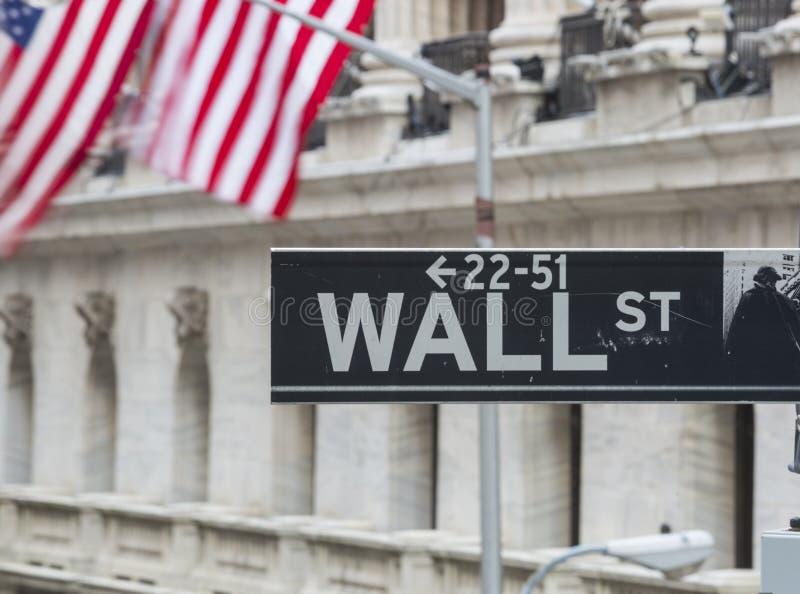 VäggSt, undertecknar det finansiella området New York, USA arkivbilder