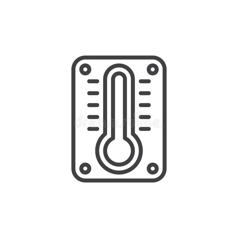 Väggtermometerlinje symbol, översiktsvektortecken, linjär stilpictogram som isoleras på vit stock illustrationer