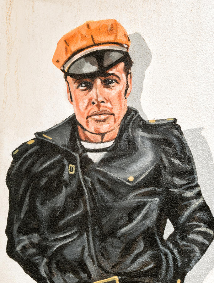 Väggväggmålning, Marlon Brando arkivbild