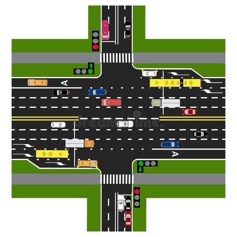 Väginfographics Huvudvägen skär med vägen Med bilarna och trafikljusen Grön signal till huvudvägen vektor illustrationer