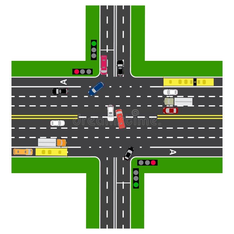 Väginfographics Mest av huvudväggenomskärningen med vägen royaltyfri illustrationer