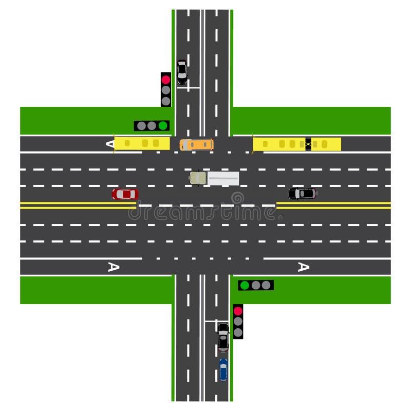 Väginfographics Stor huvudväggenomskärning med vägen Med bilarna och trafikljusen royaltyfri illustrationer
