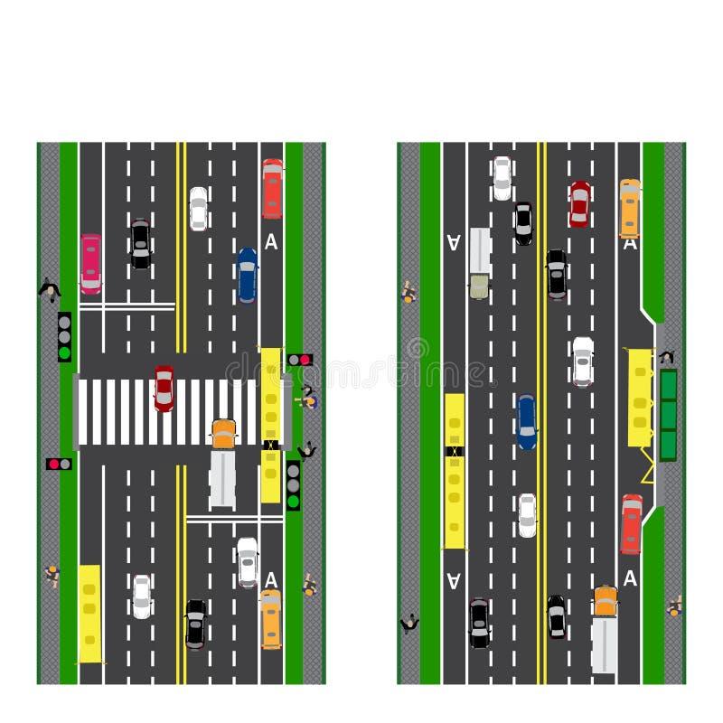 Väginfographics Täppaväg, huvudväg, gata genomskärning Med olika bilar royaltyfri illustrationer