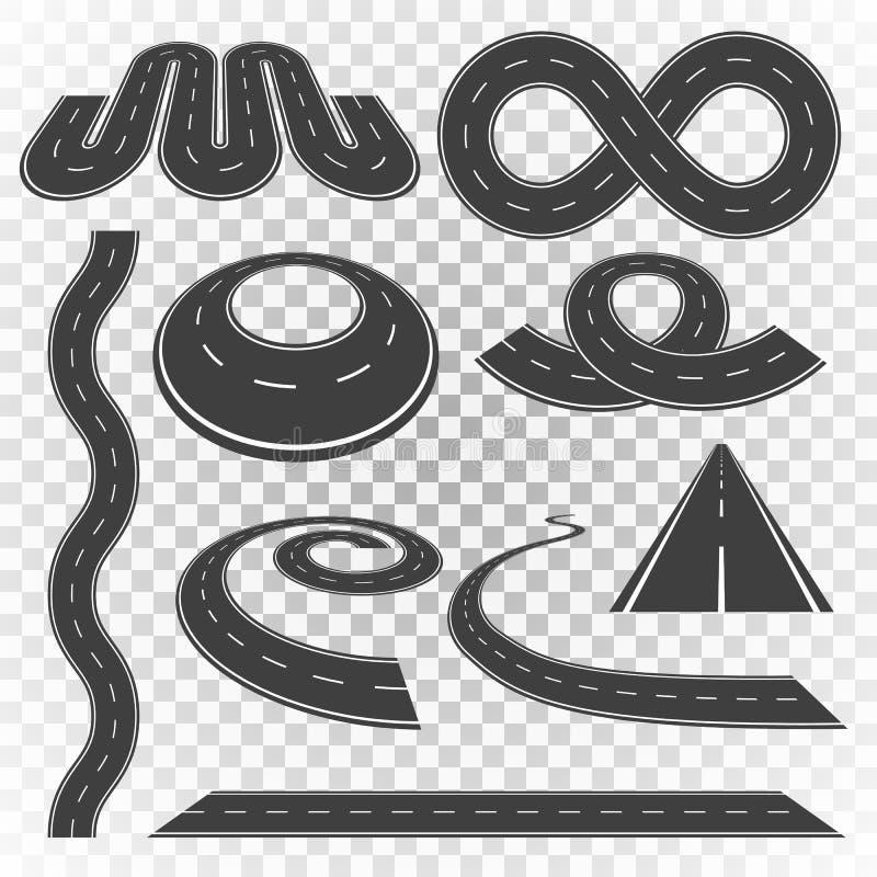 Vägkurvuppsättning 2 royaltyfri illustrationer