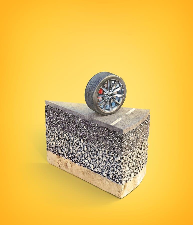 Väglaglager Stycke av kakan med vägstrukturen vektor illustrationer