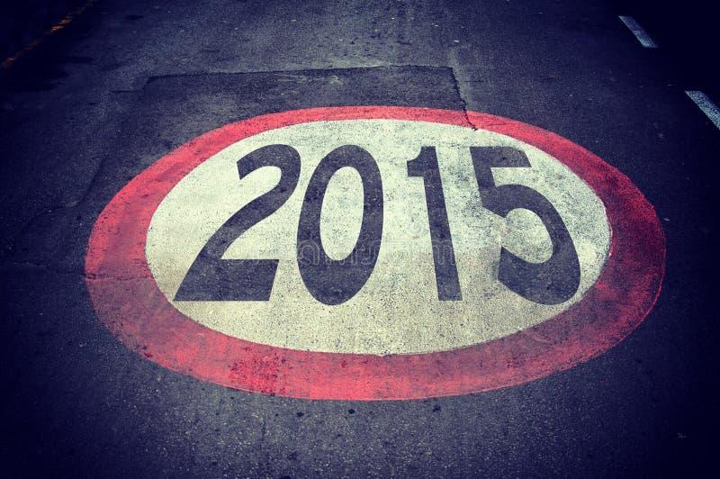 Vägmärke 2015 arkivfoton