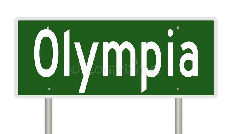 Vägmärke för Olympia Washington royaltyfri illustrationer