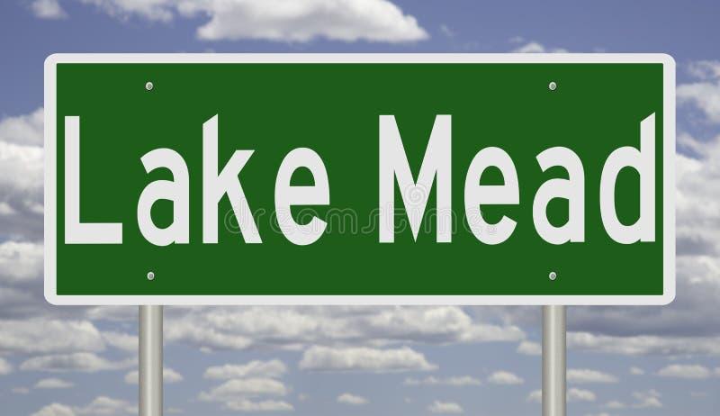 Vägmärke för sjön Mead Nevada stock illustrationer