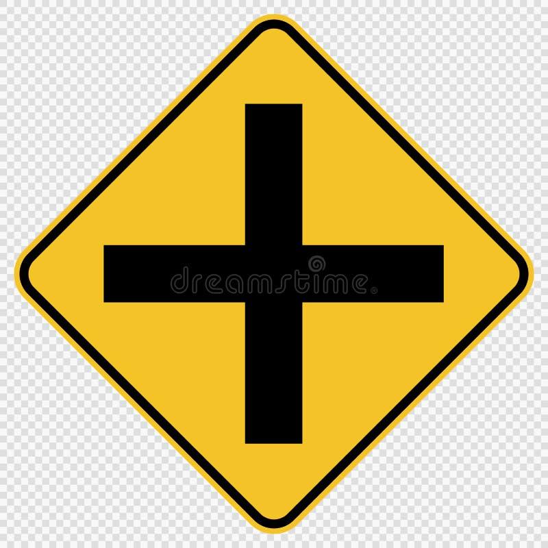 vägmärke för trafik för symboltvärgataföreningspunkt på genomskinlig bakgrund vektor illustrationer