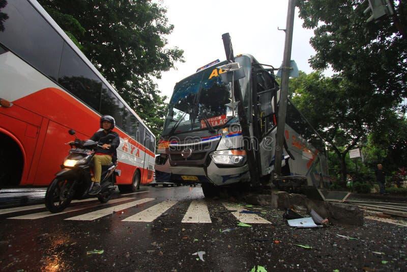 Vägmärke för trafikolyckabussslag royaltyfri fotografi