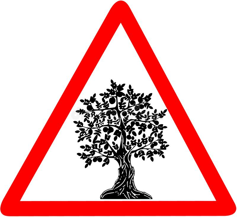 Vägmärke för varning för Arganträd triangulärt på vit bakgrund royaltyfri illustrationer