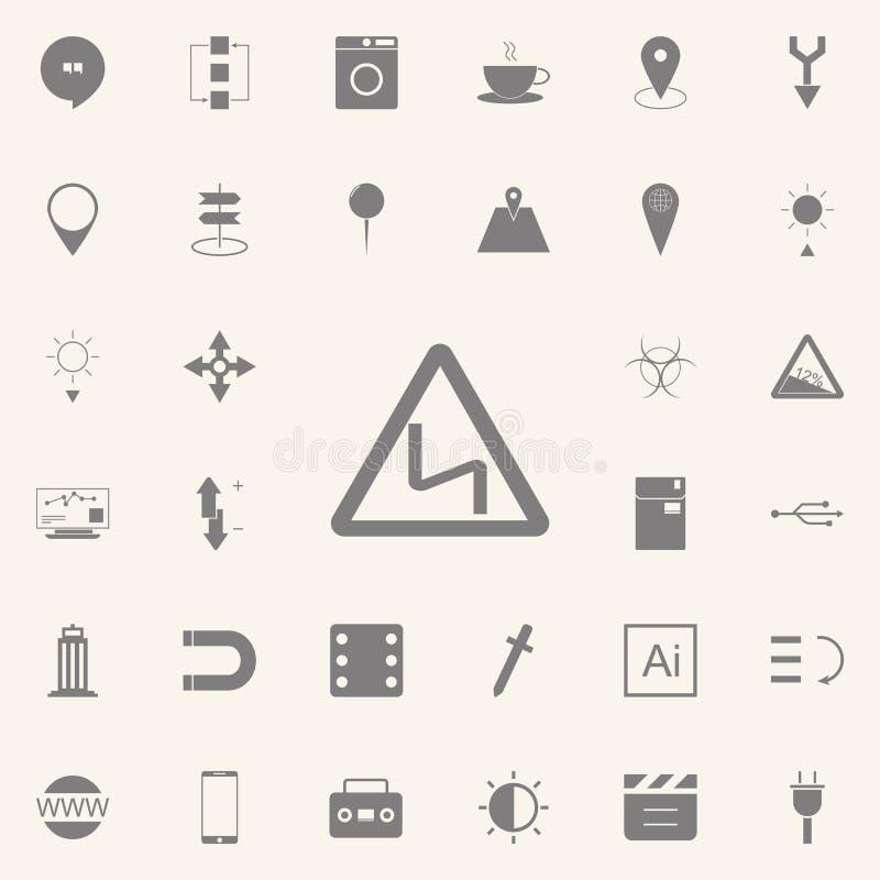 Vägmärke - kurvor som varnar framåt teckensymbolen universell uppsättning för rengöringsduksymboler för rengöringsduk och mobil royaltyfri illustrationer