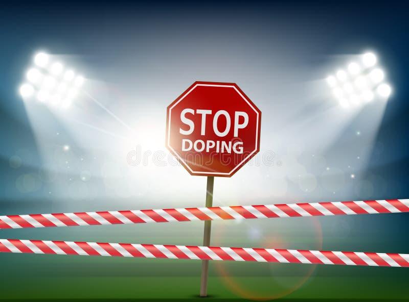 Vägmärke med att dopa för stopp stock illustrationer