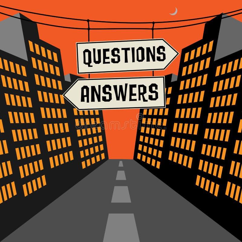 Vägmärke med motsatta pilar och textfrågor - svar stock illustrationer