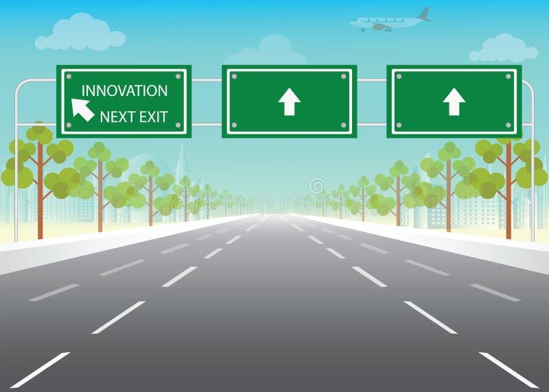 Vägmärke med nästa utgångsord för innovation på huvudvägen vektor illustrationer