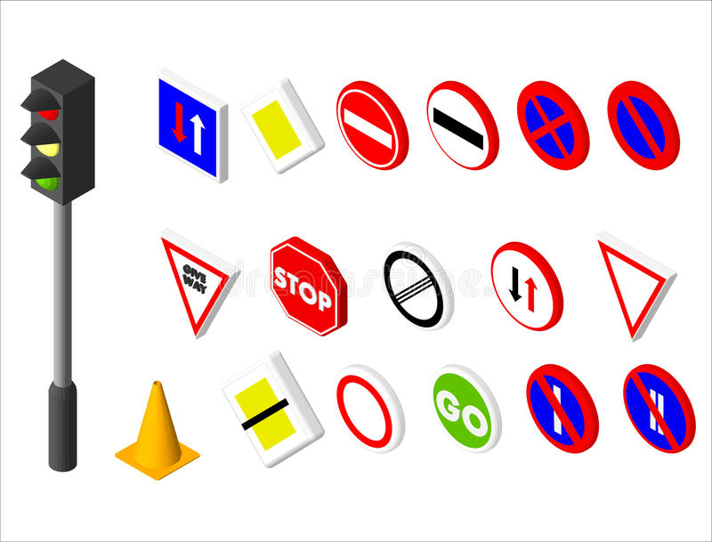 Vägmärke och trafikljus för isometriska symboler olikt Europé och amerikansk stildesign för illustrationsköld för 10 eps vektor stock illustrationer