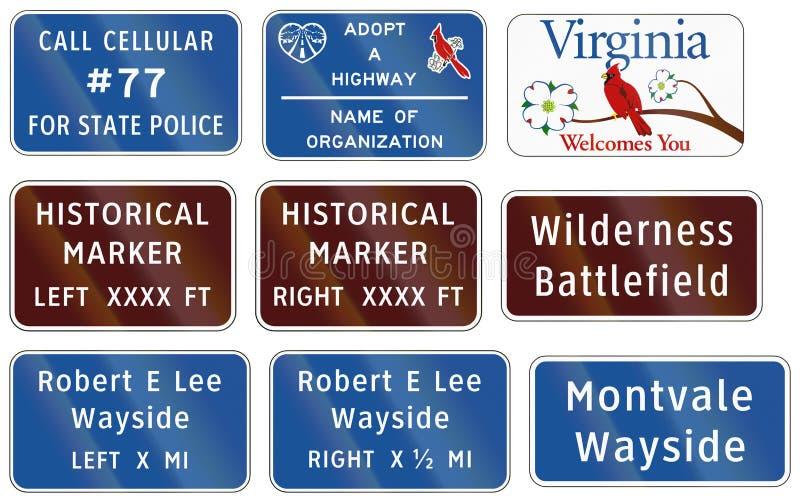 Vägmärke som används i USA-staten av Virginia - den statliga polisen numrerar vektor illustrationer
