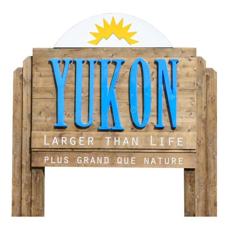 Vägmärke som välkomnar till staten av Yukon royaltyfri fotografi