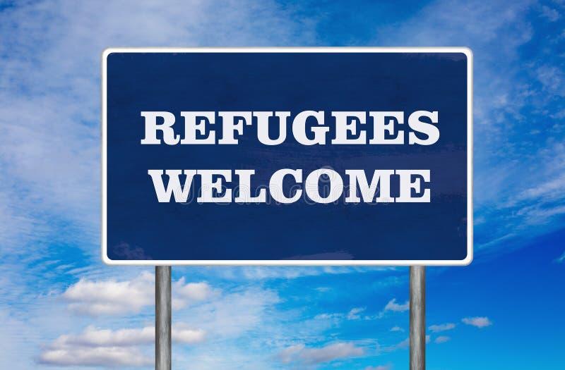 Vägmärket med det välkomna tecknet för flyktingar royaltyfri illustrationer