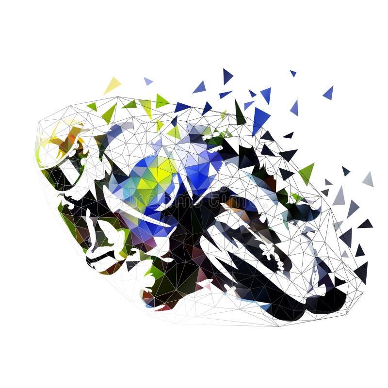 Vägmoped som springer, polygonal illustration stock illustrationer