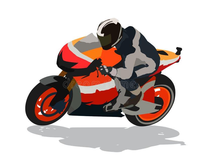 Vägmotorcykel som springer, vektorillustration royaltyfri illustrationer