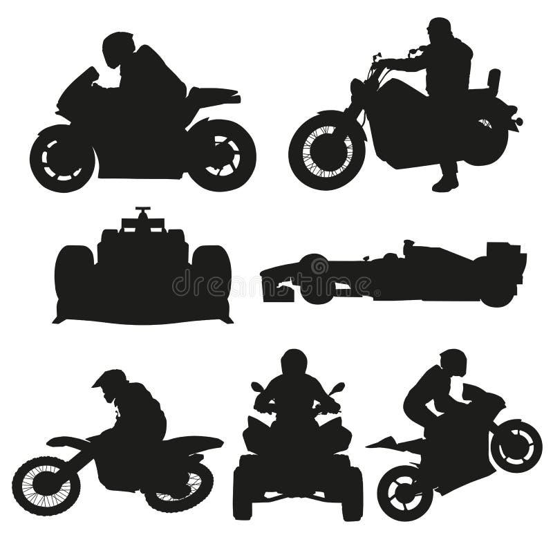 Vägmotorcyklar, motocross och tävlings- bilar vektor illustrationer
