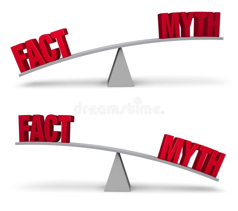 Vägning av faktum- och mytuppsättningen royaltyfri illustrationer