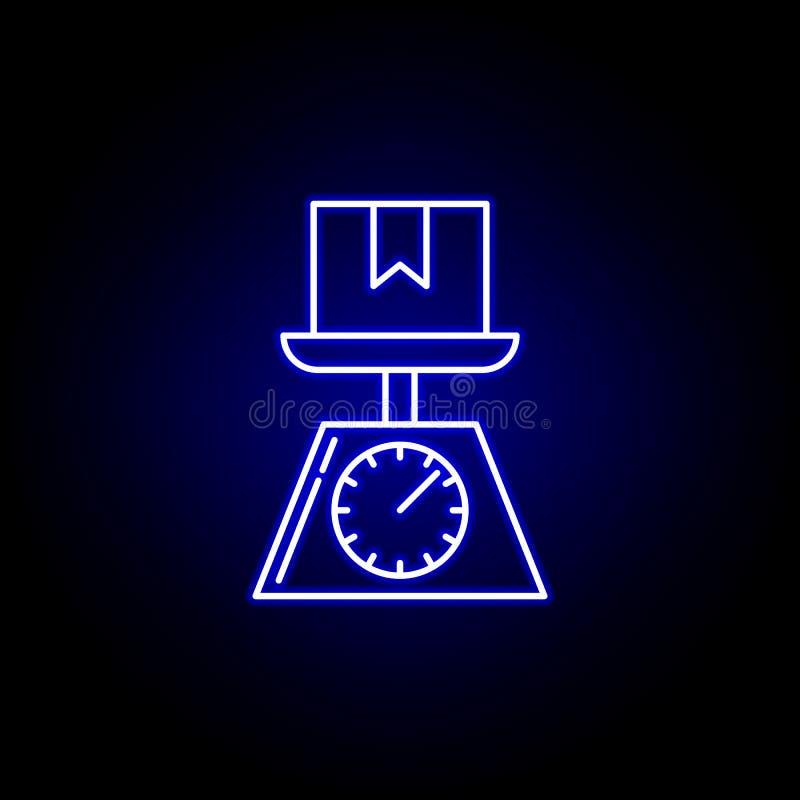 vägning av jordlotten graderar linjen symbol i blå neonstil Ställ in av logistikillustrationsymboler Tecknet symboler kan använda stock illustrationer