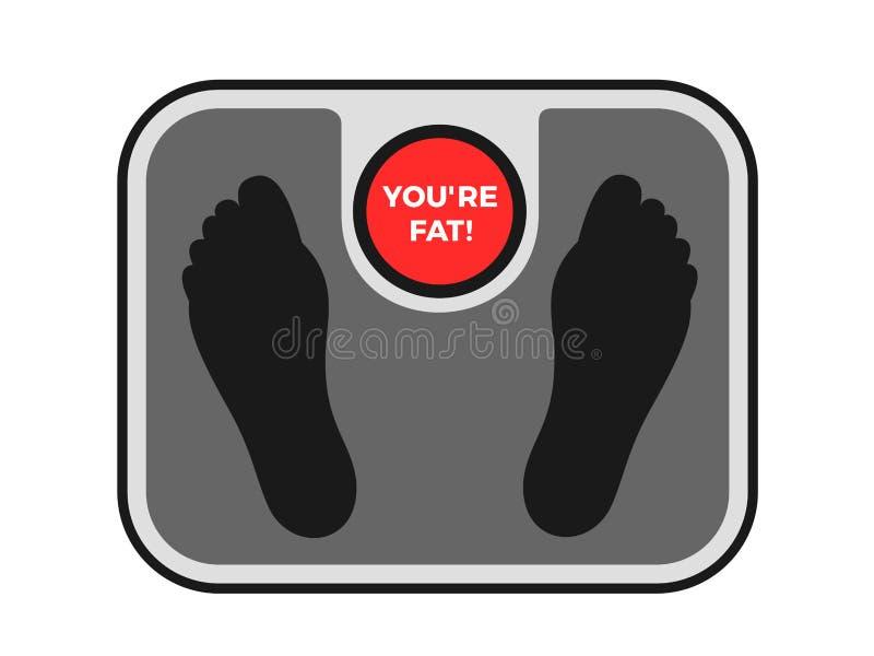 Vägningsmaskinen gör den offensiva kroppen som drar skam över den feta och överviktiga personen för anfall - anklagas av fetma stock illustrationer