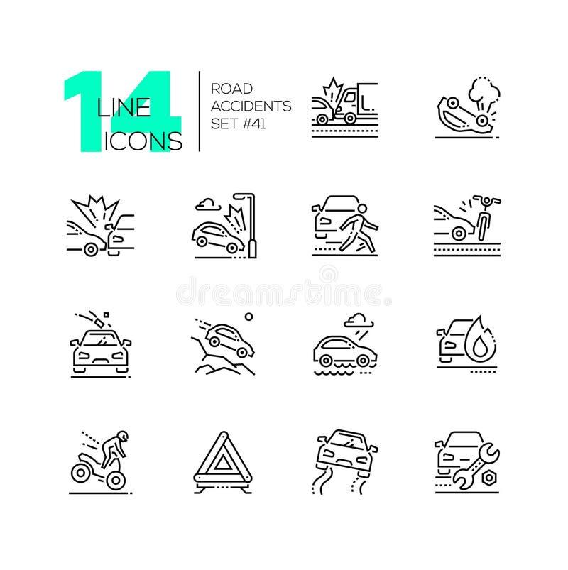 Vägolyckor - uppsättning av linjen designstilsymboler royaltyfri illustrationer