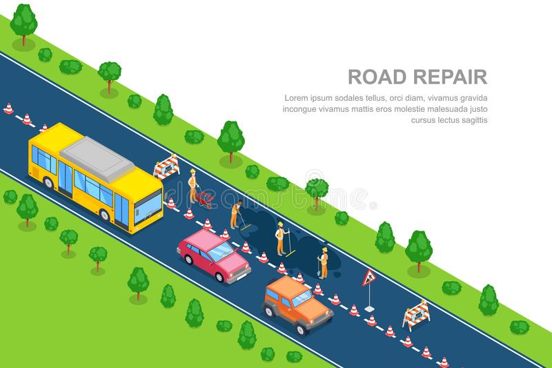 Vägreparation, roadworks, konstruktionsbegrepp Isometriskt horisontalbaner för vektor 3D Stadsväg som stängs för rekonstruktion stock illustrationer