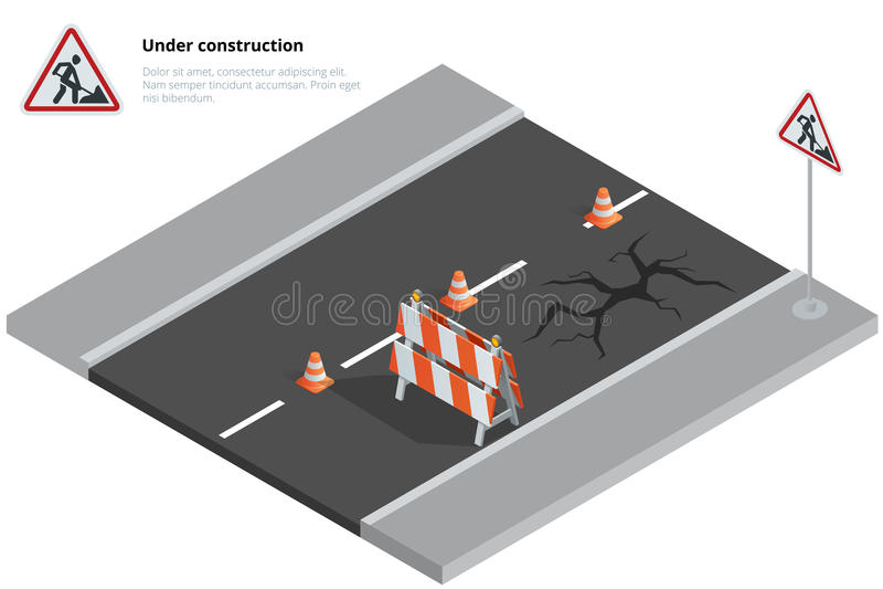 Vägreparationen, under konstruktionsvägmärke, reparationer, underhåll och konstruktion av trottoar, väg stängde tecknet med royaltyfri illustrationer
