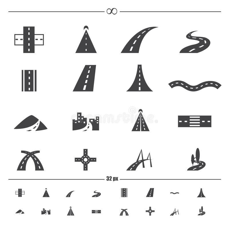 Vägsymbolsvektor royaltyfri illustrationer
