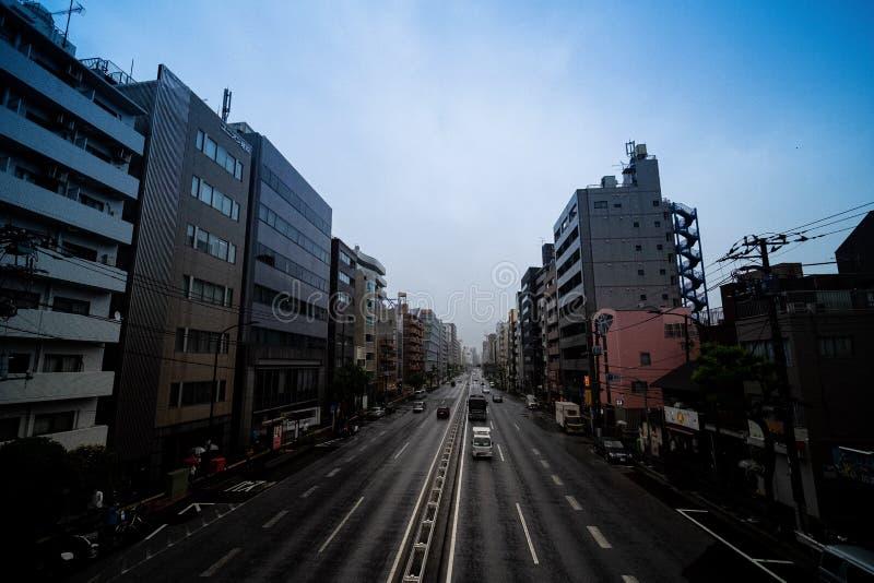 V?gtrafik i rusningstid i Tokyo, Japan royaltyfri fotografi